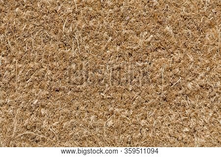 Closeup Of Brown Coir Door Mat Suitable For Use As A Texture Or Background