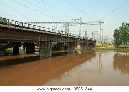 Railway Bridge Above The Rivers In China