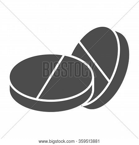 Placebo Pills Solid Icon. Two Rounded Medicine Drug Symbol, Glyph Style Pictogram On White Backgroun