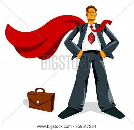 Big Boss Businessman Stands Confident And Serious Like A Superhero Vector Illustration, Powerful Bus