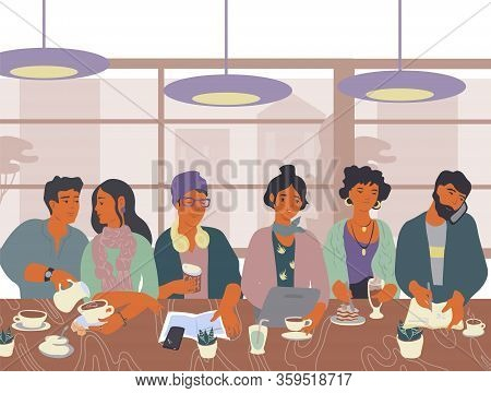 Coffeehouse Or Cafe With People Drinking Coffee, Using Smartphone And Laptop.