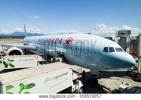 Vancouver, Canada - July 3, 2017: An Air Canada Airlines Boeing 777 Plane Being Serviced On The Tarm