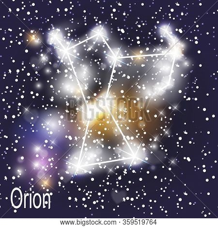 Orion Constellation With Beautiful Bright Stars On The Background Of Cosmic Sky  Illustration