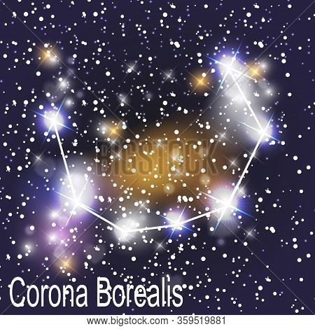 Corona Borealis Constellation With Beautiful Bright Stars On The Background Of Cosmic Sky  Illustrat
