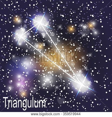 Triangulum Constellation With Beautiful Bright Stars On The Background Of Cosmic Sky  Illustration