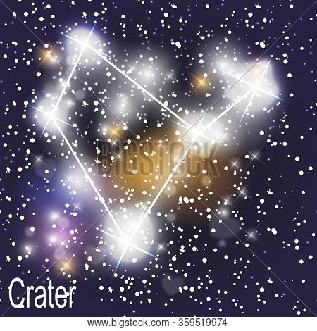 Crater Constellation With Beautiful Bright Stars On The Background Of Cosmic Sky  Illustration