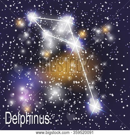 Delphinus Constellation With Beautiful Bright Stars On The Background Of Cosmic Sky  Illustration