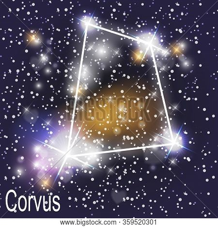Corvus Constellation With Beautiful Bright Stars On The Background Of Cosmic Sky  Illustration.