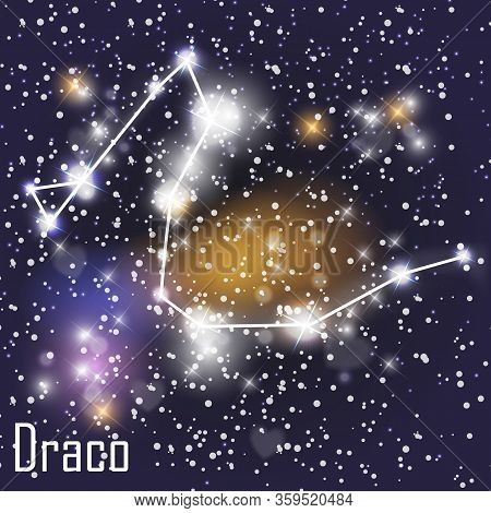 Draco Constellation With Beautiful Bright Stars On The Background Of Cosmic Sky  Illustration
