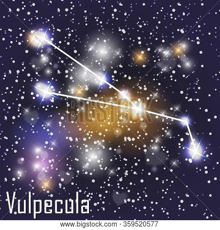 Vulpecula Constellation With Beautiful Bright Stars On The Background Of Cosmic Sky  Illustration