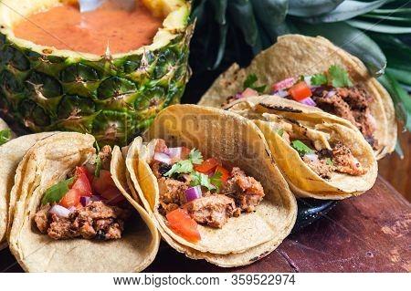 Tijuana Tacos Al Pastor With Spicy Salsa, Mexican Food