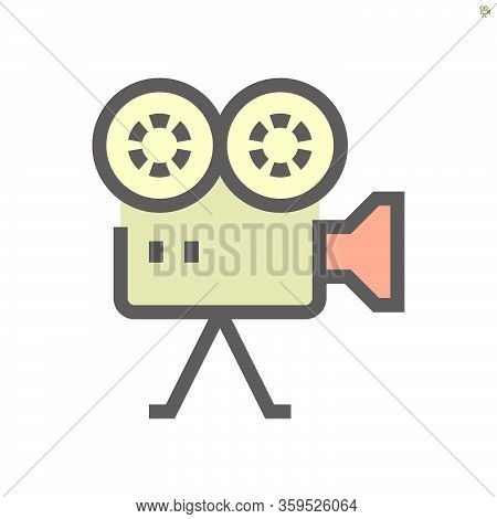 Camcorder Vector Icon Design On White, 48x48 Pixel Perfect And Editable Stroke.
