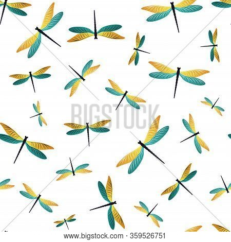 Dragonfly Trendy Seamless Pattern. Spring Dress Fabric Print With Flying Adder Insects. Graphic Wate