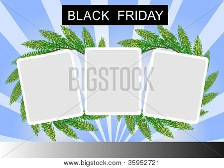 Black Friday Banner and Three Square Sticker on Starburst Background