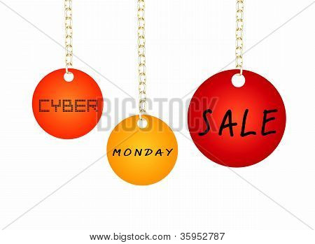 Cyber Monday Sale Tag Holding on A Goldenl Chain
