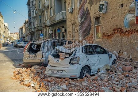 Zagreb, Croatia - April 2, 2020 : The Aftermath Of The Richter Earthquake That Hit Zagreb Magnitude