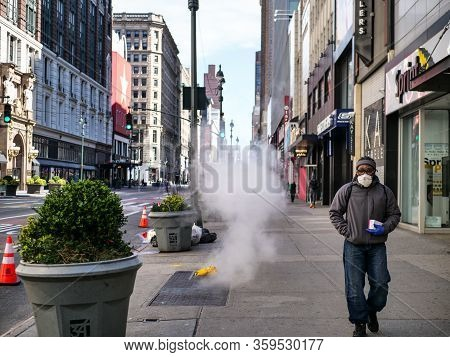 New York, United States, Usa March 24, 2020: Characteristic, Typical, Iconic New York Street During