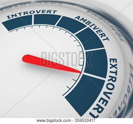 Extrovert, Ambivert And Introvert Concept. Human Psychology. Level Scale With Arrow. The Measuring D