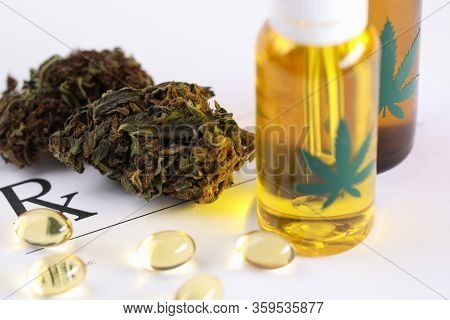 Wide Selection Cannabis, Oil And Herb Preparations. Doctor Prescribes Consumption Hemp Preparations