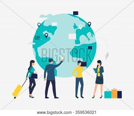 Business People At Globe Vector Illustration. Globalization, Global Business, Www. Business Travel C