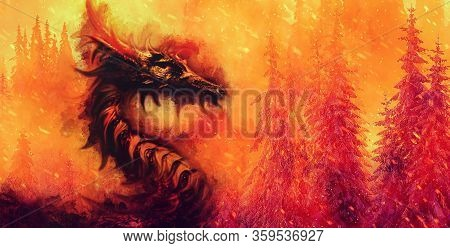 Burning Spruce Forest Ancient Dragon, Ecology Concept.