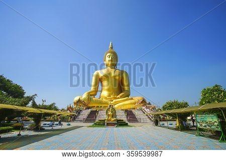 Ang Thong, Thailand - November 17, 2019 : The Largest Buddha Statue In The World At Wat Muang, Ang T