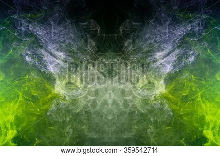 Fluffy Puffs   Green An D Blue  Smoke And Fog In The Form Of A Skull, Monster, Dragon  On Black Back