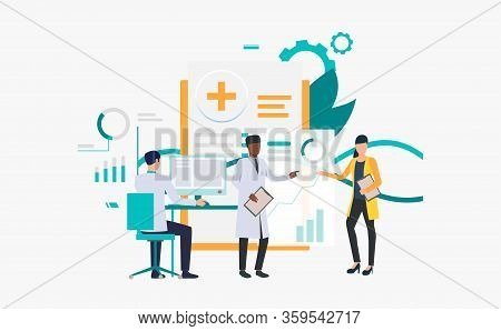 Medics Working Over Charts Vector Illustration. Medical Research, Medical Development, Modern Clinic