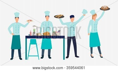 Cooks Holding Trays With Dishes In Kitchen. Dinner, Cuisine, Food Concept. Vector Illustration Can B