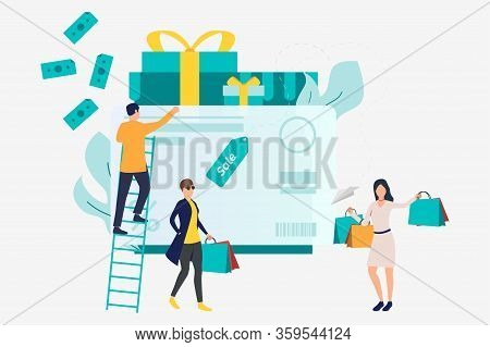 Female Shoppers At Credit Card With Gift Boxes Vector Illustration. Purchase, Sale, Cashless Payment