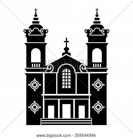 Detailed Black Silhouette Of Catholic Church Of Immaculate Heart Of Mary Oratory In San Jose (califo