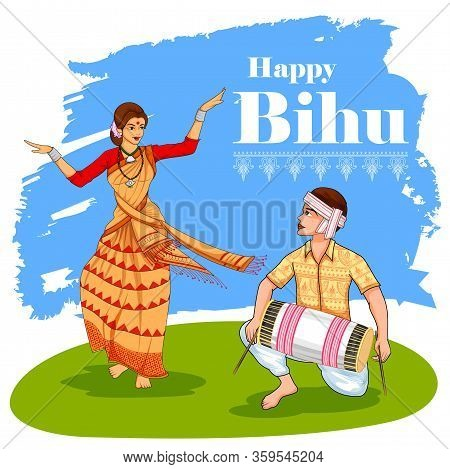 Illustration Of Traditional Background For Religious Holiday Festival Of Assamese New Year Bihu Of A