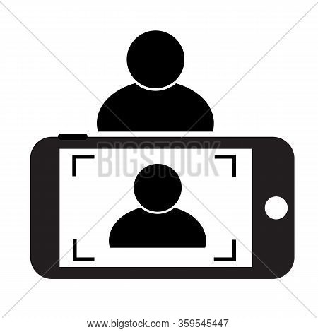 Selfie Icon On White Background. Flat Style. Phone Photo Icon For Your Web Site Design, Logo, App, U