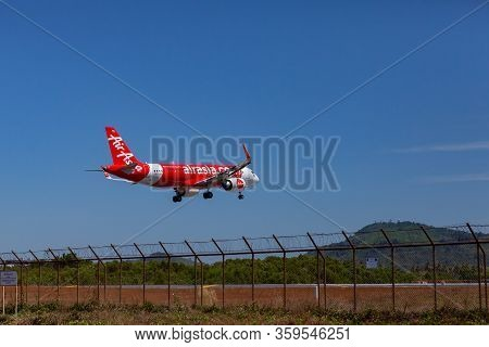 Phuket - Thailand; February 16, 2019: Airasia Is A Malaysian Low-cost Airline Landing To Phuket Inte