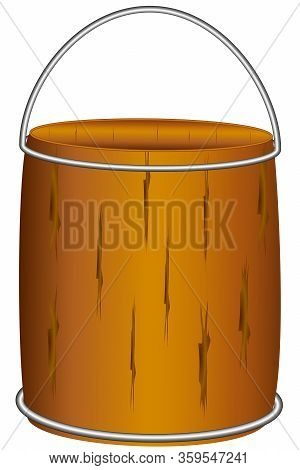 Wooden Bucket For Water, With A Metal Handle And Rings, Made With A Wooden Deck, Drawing On A White