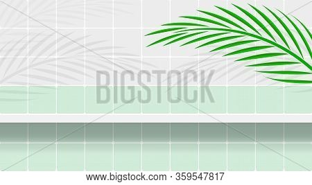 Wall Tile And Shelf With Leaves Palm For Background And Copy Space, Bathroom Shelf On Wall Tiles And