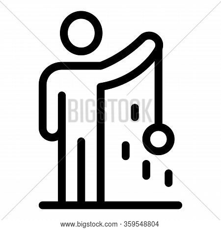 Man Take Sphere On Wire Icon. Outline Man Take Sphere On Wire Vector Icon For Web Design Isolated On