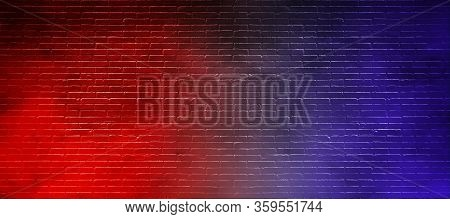 Abstract Image Of Studio Dark Room With Lighting Effect Red And Blue On Black Brick Wall Gradient Ba