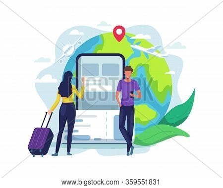 Online Booking Ticket Concept. Young Women Traveling By Plane, Book Flight Tickets Online. Men Buy F