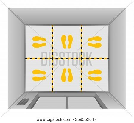Elevator Lift Floor With Tape Line Yellow Black Stripe, Footprints Mark For Standpoint At Floor Elev