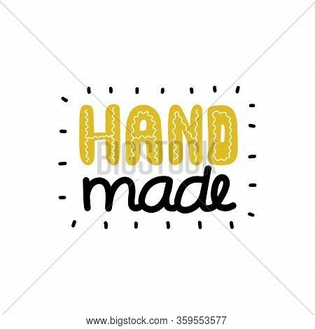 Handmade Logo. Perfect For Needlework Labeling. Black, White And Yellow Vector Illustration With Ray