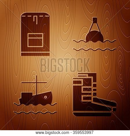 Set Boots, Backpack, Fishing Boat On Water And Floating Buoy On The Sea On Wooden Background. Vector