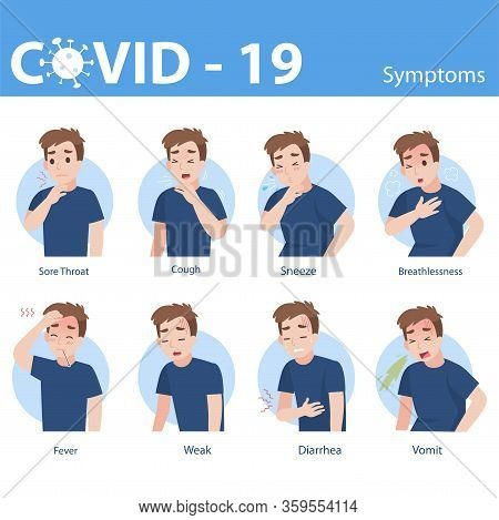 Info Graphic Elements The Signs And Corona Virus Symptoms, Set Of Man With Different Diseases - Sore