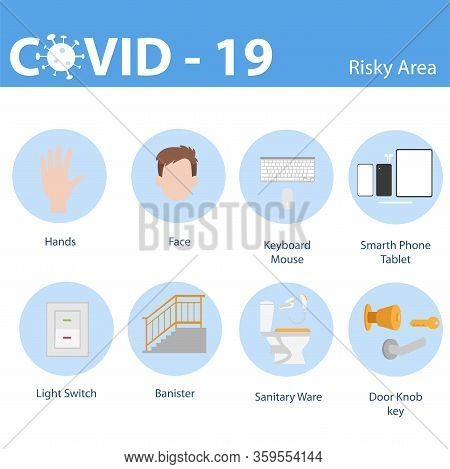 Info Graphic Elements The Signs And Corona Virus, Risky Area Surface Of Covid - 19, Health Care Conc