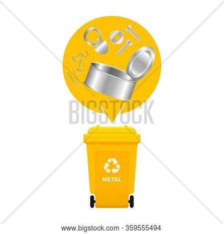 Metal Waste And Yellow Recycling Plastic Bin Isolated On White Background, Plastic Bin And Metal Gar