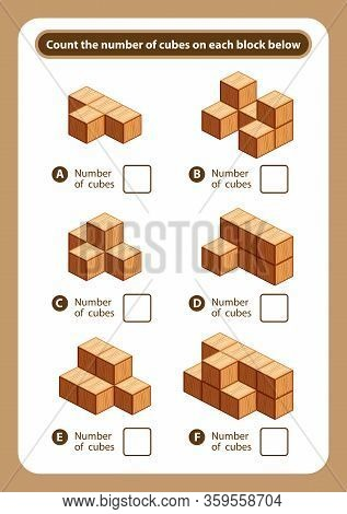 Articles Sheet Count The Number Of Cubes On Each Block, Kids Activity Sheet For Counting Number 3d C
