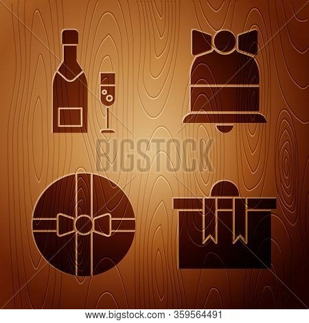 Set Gift Box, Champagne Bottle And Glass Of Champagne, Gift Box And Merry Christmas Ringing Bell On