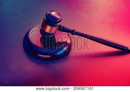 Legal law office business concept image, gavel on table