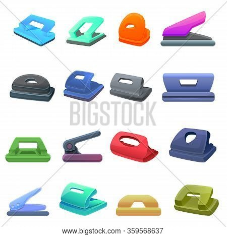 Hole Puncher Icons Set. Cartoon Set Of Hole Puncher Vector Icons For Web Design