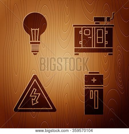 Set Battery, Light Bulb With Concept Of Idea, High Voltage Sign And Diesel Power Generator On Wooden